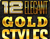 Gold Metal Elegant Text Styles, PSD Template