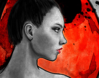 Red Warrior Woman Digital Painting
