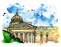 Illustrations monuments in St. Petersburg / watercolor