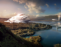 Monorail Station-Digital Matte Painting