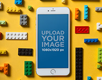 Silver iPhone 8 Plus Mockup with Legos