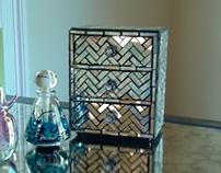 Mirror Jewelry Box with Zig Zag Pattern
