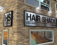 3D Visualisation Hair Shack Hair & Beauty shop, signage