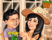 Asih & Fitra Prewedding Caricature