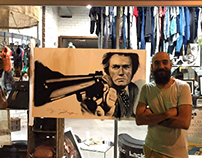 """Dirty Harry"" Charcoal drawing. Dibujo en directo."