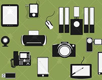 Flat Electronic Device Icons Vector Set