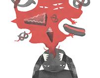 Illustration Arzt und Hunger
