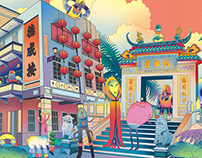 aliens in Macao外星争霸STUDIO CITY MACAO澳门新濠影汇长图插画墙绘