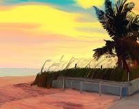 Key West beach - digital painting