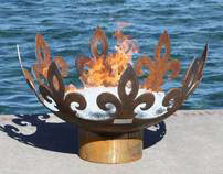The Fiery Fleur-de-Lis Sculptural Firebowl