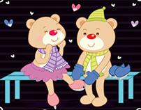 Casal de ursos patinando / Cartão