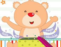 Urso com caixa de surpresas / Cartão