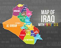 Map of Iraq with Provinces | خارطة العراق مع المحافظات