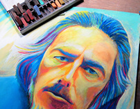 Alan Watts Portrait - Chalk Pastels