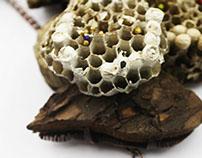 Recycled Beehive & Metal Pendant