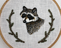 Raccoon Embroidery Hoop Art
