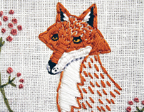 Fox Embroidery Hoop Art