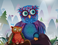 Two owls on the mountain