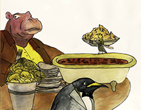 Hippopotamus eats dinner