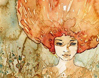 """Watercolor portrait of a woman """"12"""" green, nature,"""