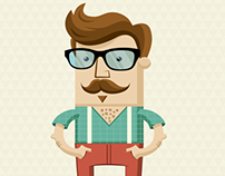 Hipster character illustration with hipster elements