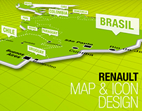 Map design & icon set for Renault