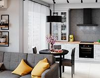 Уютная гостиная с совмещенной кухней. 3D визуализация.