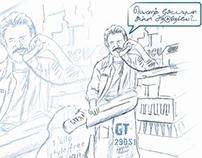 A drawing of tamil actor Rajinikanth