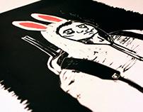 Hunter - Lino print