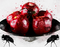 Poison Apples digital watercolor painting