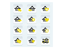 Ecommerce shopping basket flat icons set - 1