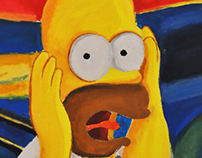 Simpson's 'Scream' painting imitation - Canvas Painting
