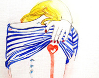 Stripes and girls.Watercolors