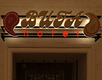 Logo and outdoor sign for hotel.