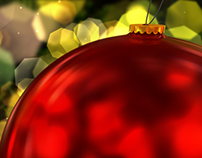 Hanging Red Christmas Ball Decoration Closeup