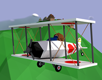 3D Low-Poly Zero-Fighter on the Japanese Coast [C4D]