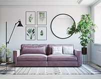 3D Furniture Rendering for Sofa in a Roomset