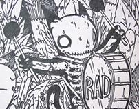 Skeleton Drummer Letterpress Print