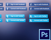 Freebie PSD: Login / Sign in With Social Media