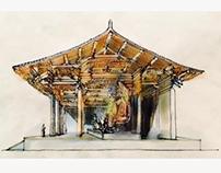 "A temple""luminous of Buddha"