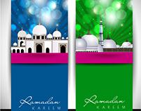 Vector Blue and Green Ramadan Kareem card