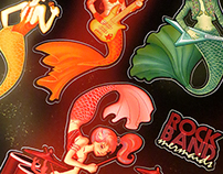 80s Mermaid Rock Band Stickers