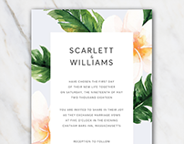 Wedding invitation template in Word | flowers | FREE