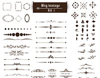 Vintage ornaments kit Free Vector