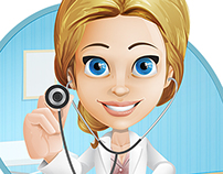 Female Doctor Cartoon Character Set