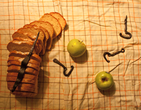 Still life with bread and can-openers