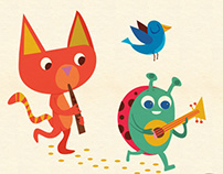 a collection of children character animal illustrations