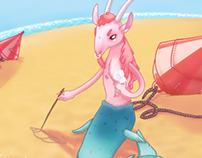 The Capricorn on a beach with icecream