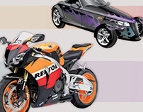 Car and Motorcycle Drawings by K. Fairbanks