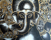Shri Ganesh painting on Perspex
